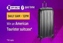 Amazon Quiz Time 24 May 2019 | Answer & Win a American Tourister Suitcase