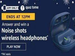 Amazon Quiz Time 01 Aug 2020 | Answer & Win a Noise shots wireless headphones