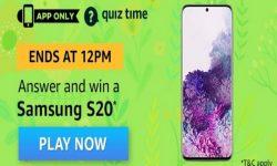 Amazon Quiz Time 29 Mar 2020 | Answer & Win a Samsung S20