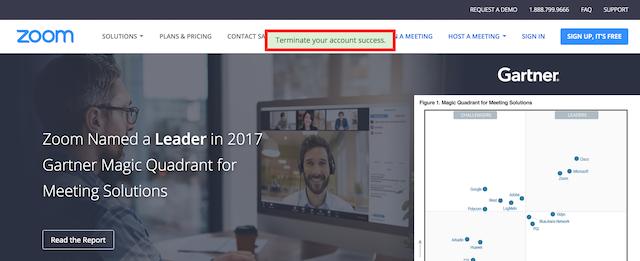 Zoom App- Terminate your account success