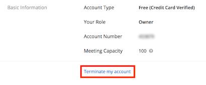 Zoom App- Terminate my account