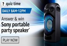 Amazon Quiz Time 29 Sept 2020 | Answer & Win a Sony portable party speaker