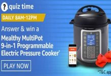 Amazon Quiz Time 01 Dec 2020 | Win Mealthy MultiPot 9-in-1 Programmable Electric Pressure Cooker