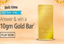 Amazon Quiz Time 27th Oct 2020 | Win 10gm Gold Bar