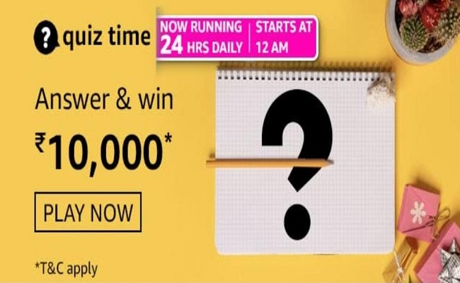 Amazon Quiz Time 28 July 2021 | Win Rs 10,000 Pay Balance