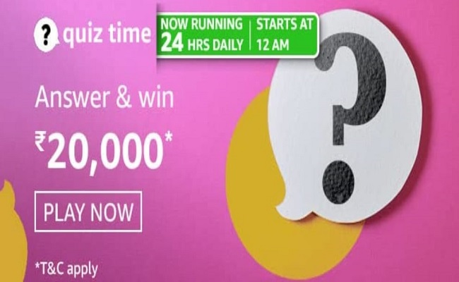 Amazon Quiz Time 19 Apr 2021 | Win Rs 20,000 Pay Balance